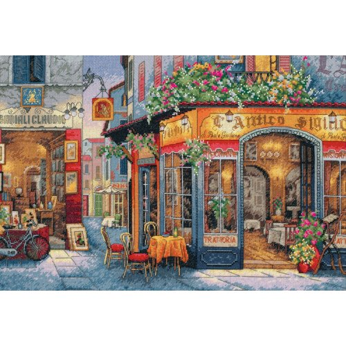 """Dimensions Gold Collection Counted Cross Stitch Kit 16""""X11""""-European Bistro (16 Count)"""