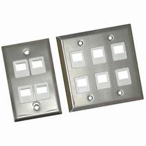 Cables To Go 37098 6-PORT DUAL GANG MULTIMEDIA KEYSTONE WALL PLATE - STAINLESS STEEL