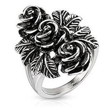 Rustic Sunch Of Vintage Roses and Leaves Cast Stainless Steel Ring