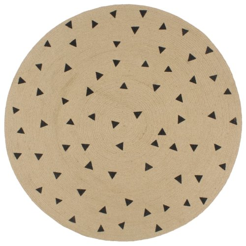 vidaXL Handmade Rug Jute with Triangle Print 150cm Room Floor Protector Carpet