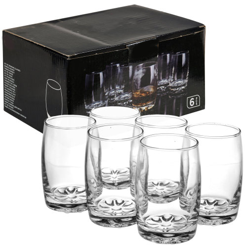6 PCS 250ml Drinking Tumblers Glasses Cups Set with Thick Bases