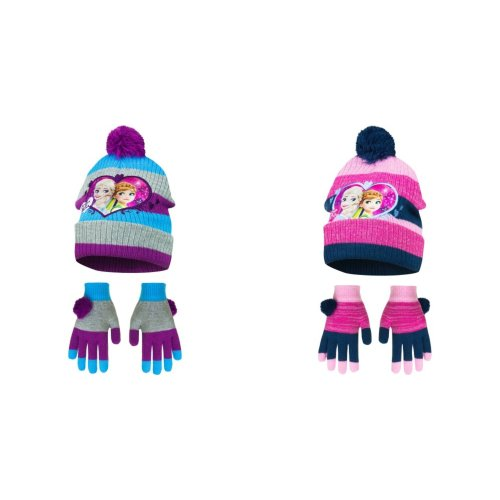 Disney Frozen Childrens Girls Pom Pom Winter Hat And Gloves Set