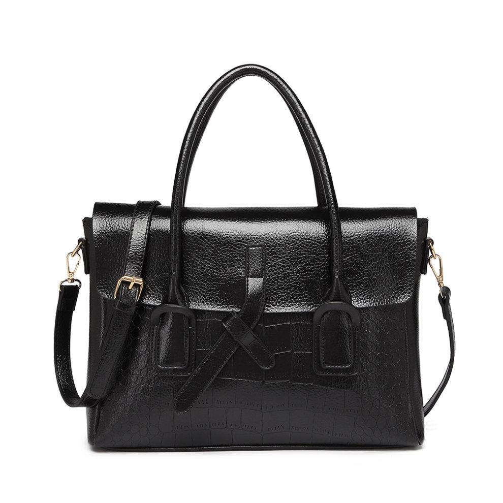 Ladies Subtle Croc Print Briefcase Messenger Bag Women PU Leather Large Handbag