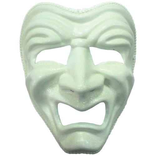 White Sad Theatrical Mask -  mask sad white fancy dress face ball accessory tragedy headband FANCY DRESS MASK WHITE SAD CRYING HALLOWEEN GHOST