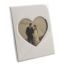 Amore Shiny Silver Plated Photo Frame With Heart insert 3x3in