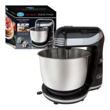 Quest 3 Litre Compact 6 Speed Watt Stand Mixer with Stainless Steel Bowl and Dough Hook and Beater, 250 W, 3 liters, Black