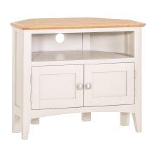 Malvern Shaker Ivory Painted Oak Corner TV Unit
