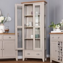 St. Ives Truffle Painted Oak Display Cabinet