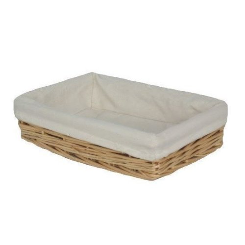 Small Lined Straight-sided Rectangular Wicker Tray