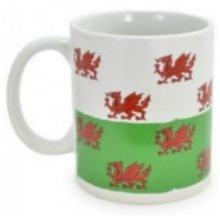 Welsh Red Dragon Mug Cup Ceramic Wales Souvenir Gift Tea Coffee Green White Flag Present