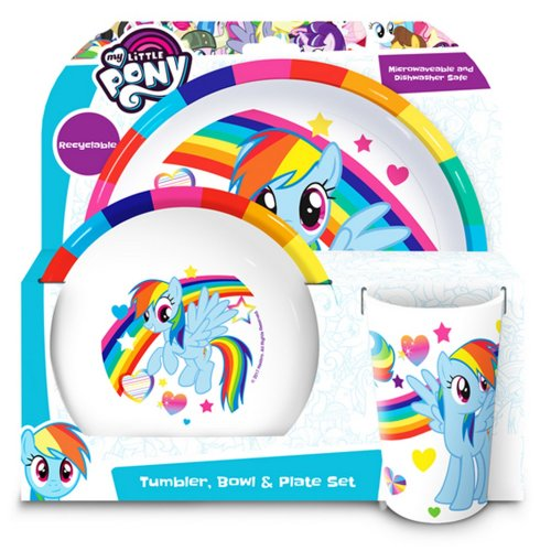 My Little Pony Official Childrens Girls 3 Piece Dinner Set