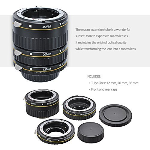 Xit Auto Focus Macro Extension Tube Set for Nikon SLR Cameras XTETN with Deluxe Accessory Bundle and Cleaning Kit