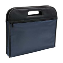 Multilayer Thicker File Holder Zippe Briefcase Information Bag-Blue