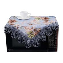 European Style Jacquard Microwave Oven Cover Dust-proof Cover, C