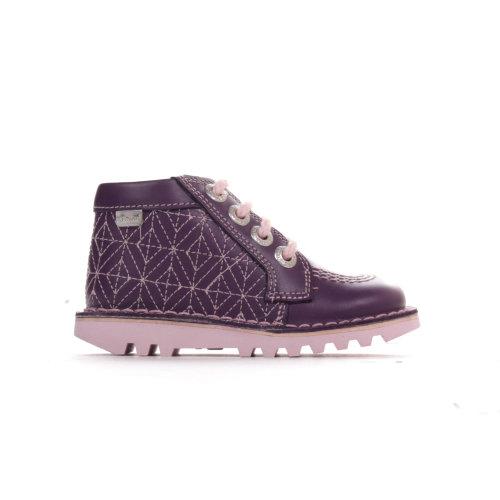 Kickers Kick Quilty Leather Infant Kids Boot Shoe Purple