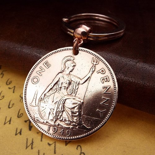 1949 Penny Coin Keyring 70th Birthday Gift