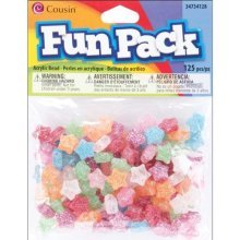 Cousin Fun Packs 125-Piece Multi Glitter Star Beads