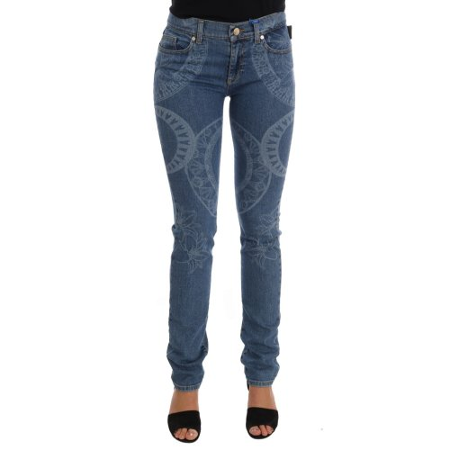 Versace Jeans Blue Wash Print Stretch Slim Fit Jeans