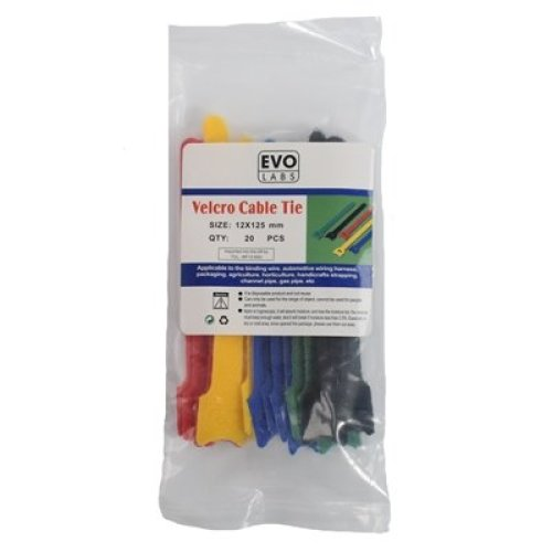 Evo Labs 20 Pack Of 125 X 12Mm Multicolour Retail Package Packaged Velcro C 12X125MM VELC MULTI-COL
