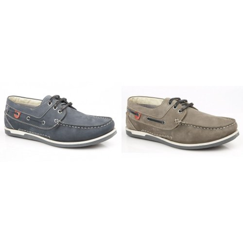 Roamers Mens Leather 3 Eyelet Boat Shoes