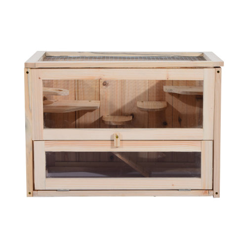 PawHut Wooden Hamster Cage Mice Rodents Hutch Small Animals 2 Levels Floors 60x35x42cm