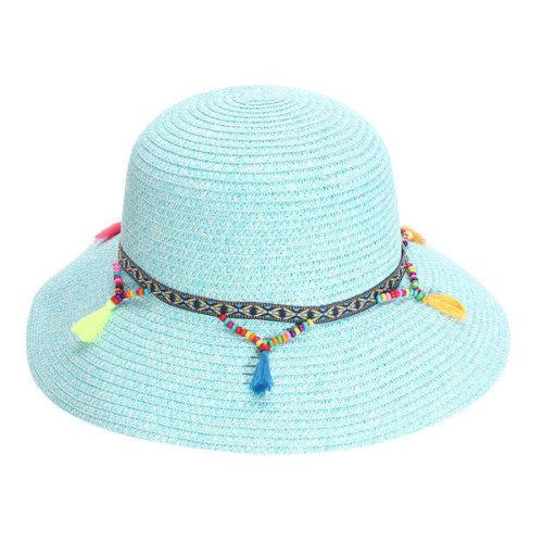 8245dc132a2a3 Summer Women Colorful Tassel Cap Wide Brim Floppy Fold Sun Straw Beach Hat  on OnBuy