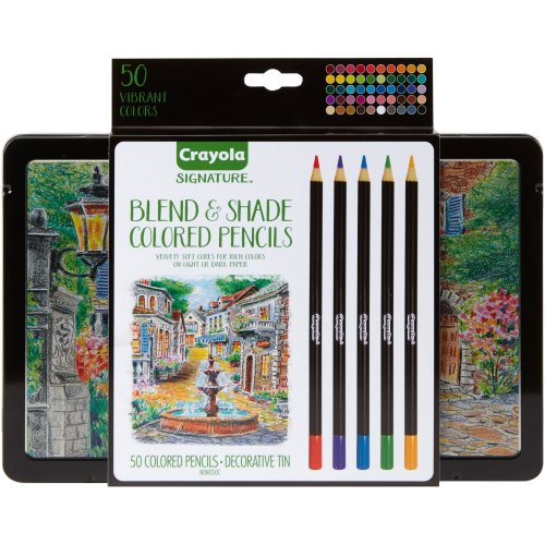 Crayola Signature Blend & Shade Colored Pencils W/Tin-Assorted Colors 50/Pkg