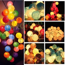 20 Cotton Ball Fairy String Lights Party Holiday Wedding Home Decor