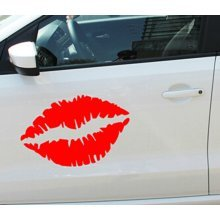 Kiss Mark Lips Car Decal / Sticker RED 23.6""