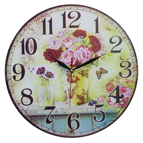 Obique Vintage Style Shabby Chic MDF Flower Vase Scene Wall Clock 34cm