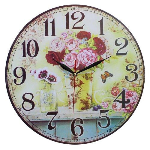 Obique Vintage Style Shabby Chic MDF Flower Vase Scene Wall Clock 34cm