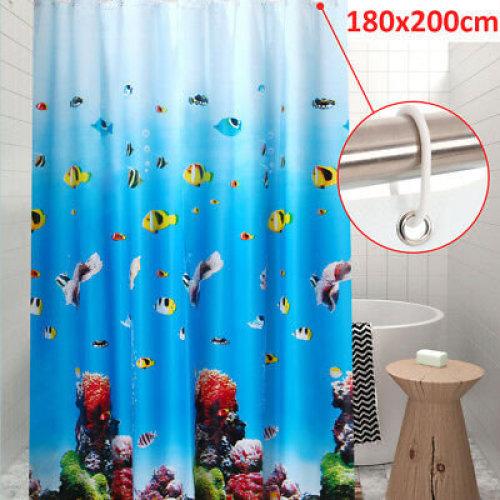 180cm x 200CM Blue Extra Long Drop PEVA Shower Curtain Waterproof Curtain uk