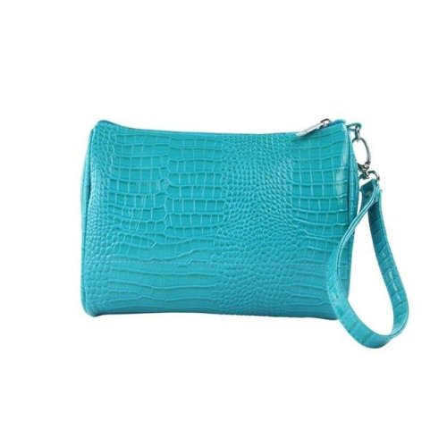 Shirley Temple-Touch Up Insulated Cosmetics Bags with Removable Wristlet, Blue Turquoise - Large