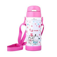Lovely Stainless Steel Drink Bottle With Straw, Pink/White