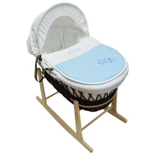 Beautiful Moses Basket With Natural Rocking Stand Blue My Little Star Dark Wicker