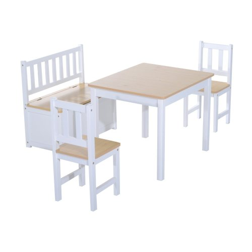 Homcom Wooden Children's Table, Storage Bench & Chairs 4pc Set