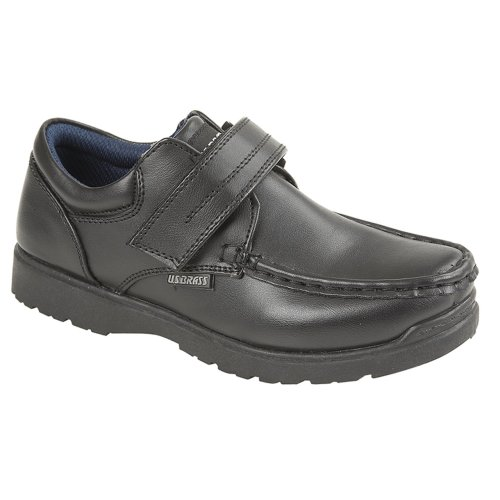 US Brass Boys Touch Fastening Shoe Black 1 UK