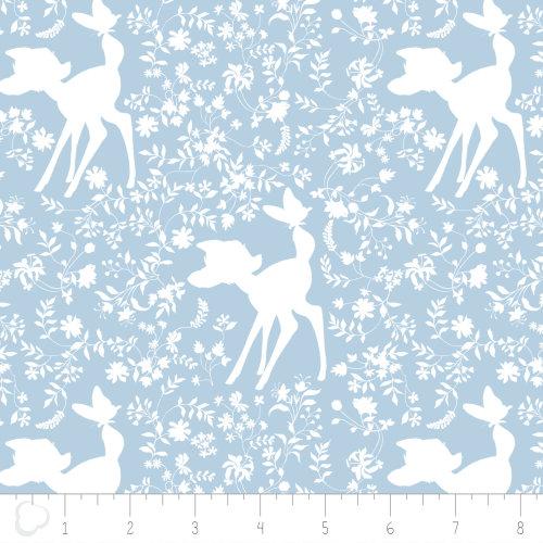 Fat Quarter Disney Bambi Silhouette Blue Cotton Quilting Sewing Fabric