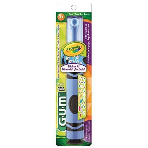 Sunstar 2272RA GUM Crayola 2272RA Power Toothbrush, Marker, Ulta-Soft Oscillating Bristle, Assorted Colors