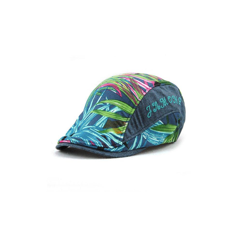 04d42e9439a Men Casual Leaf Printing Beret Cap UV Protection Sun Visor Flat Peaked Hat.