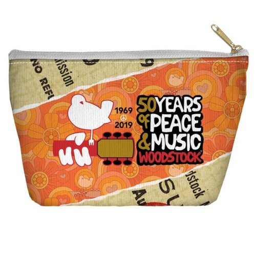 Trevco Sportswear WOOD152-PCH2-8.5x6 Woodstock & 50 Year Ticket Accessory Pouch, White - 8.5 x 6 in.