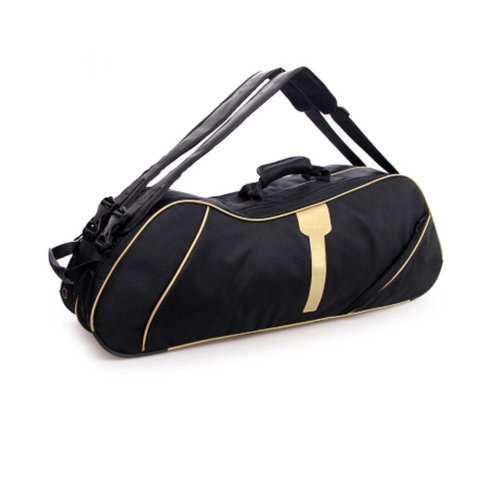2 Shoulder Straps Waterproof And Dustproof Racket Bag 6 Racquet Bag,Gold