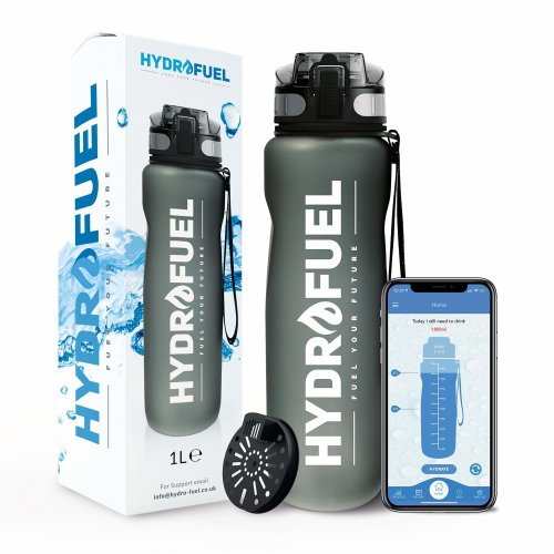 "HydroFuelâ""¢ Sports Water Bottle 1 Litre - FREE Motivational Hydration Reminder APP With Times To Drink + Custom Reminders - ECO Friendly & BPA..."