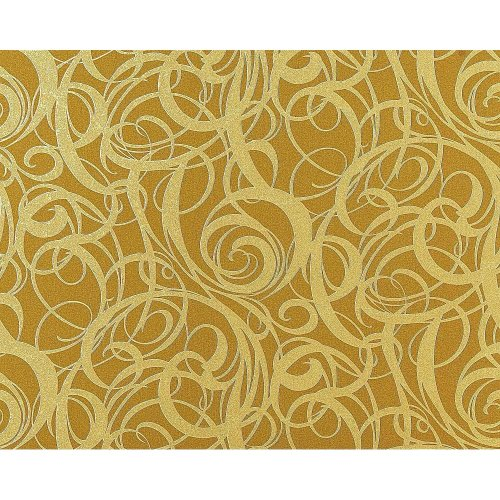 EDEM 971-38 wallpaper non-woven luxury curved lines olive-green gold   114 sq ft