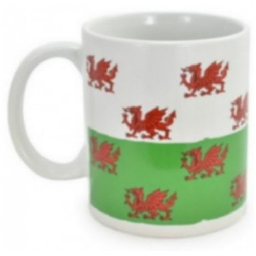 Welsh Red Dragon Mug Cup Ceramic Wales Souvenir Gift Tea Coffee Green White Flag Present