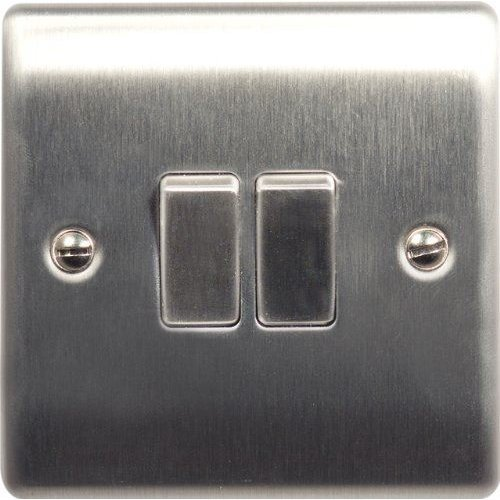 British General NBS42 Stainless Steel Light Switch 2 Gang, 2 Way