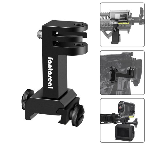 2in1 Action Camera Gun Mount, Picatinny Rail Adapter Compatible for Gopro Hero 7/6/ 5/4/ 3+/ 3/ Session Sony Sports Camera for Hunting Gun Shotgun...