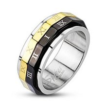 Gold and Black Plated Roman Numerals Dual Spinner 8mm Width Surgical Steel Band Ring