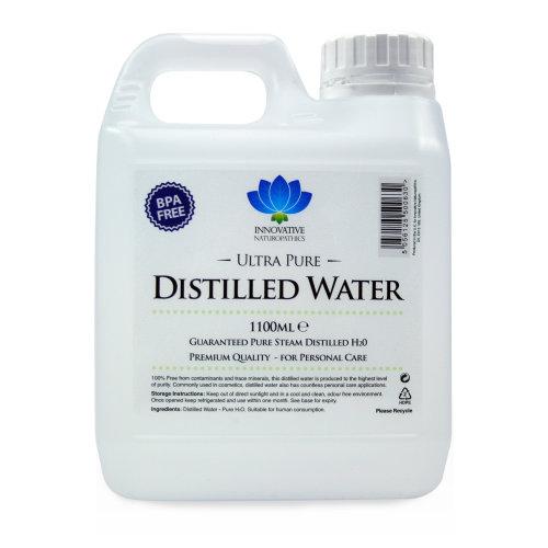 Distilled Water - 100% Pure Steam Distilled H2O - 1100ml