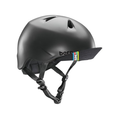 Bern Boy's Nino Helmet with Visor - Matte Black, Small/Medium